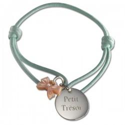 Silver Ribbon Charm Girls Bracelet