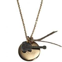 Gold Plated Guitar Charm Pendant